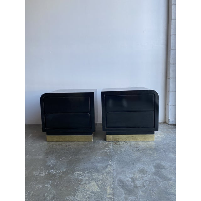 Black 1980s Black Laqcuer and Brass Nighstands-a Pair For Sale - Image 8 of 12