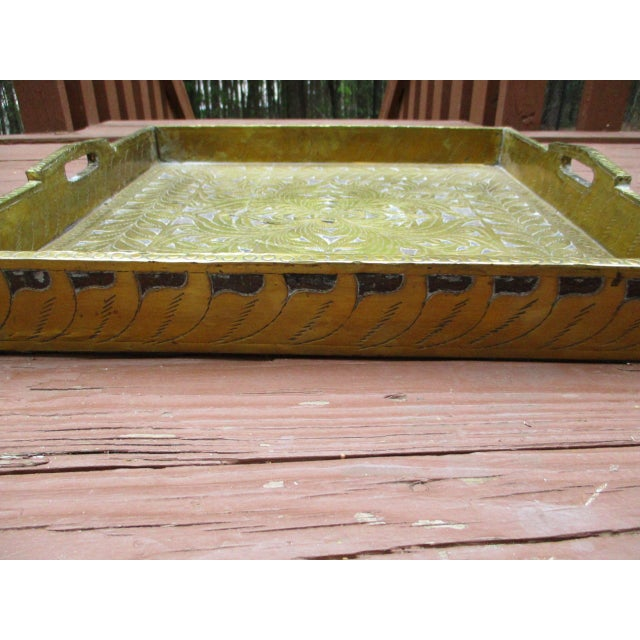 Antique Ornate Hammered Brass Wood Serving Tray - Image 10 of 11