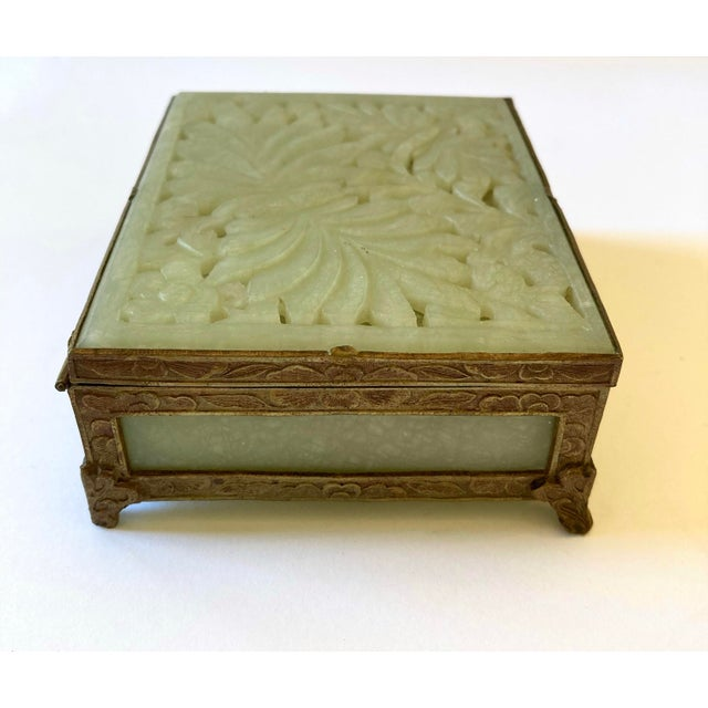 Antique Chinese Jade & Brass Box For Sale In Los Angeles - Image 6 of 9