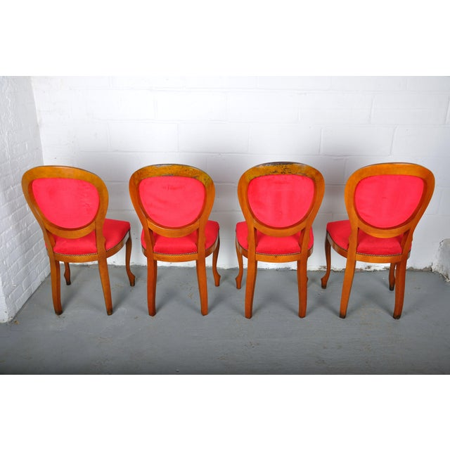 Vintage Set of 4 French Louis XV Maple Dining Chairs W/ Red Velvet Upholstery For Sale - Image 10 of 11