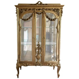 19th Century French Louis XVI Style Giltwood Vitrine