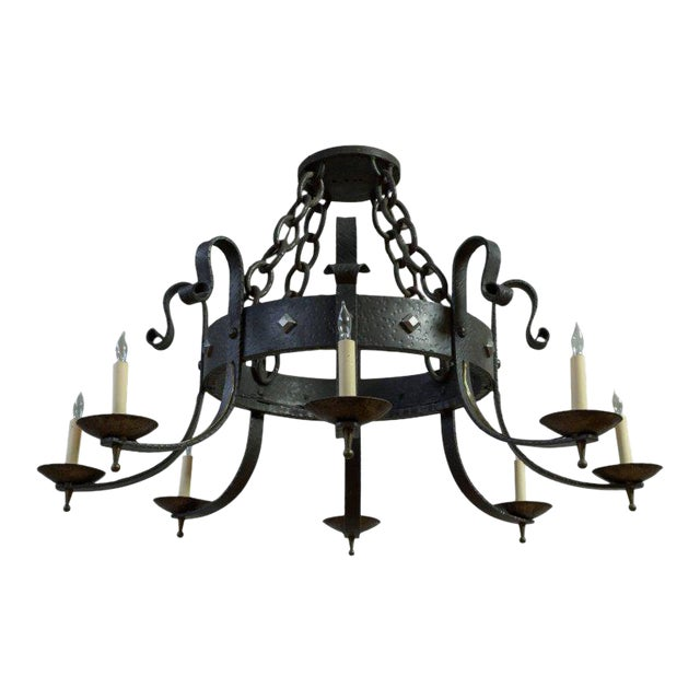1940's Round Wrought Iron Chandelier with 8 Arms - Image 1 of 11