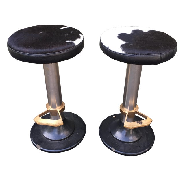 Cowhide Deco Style Bar Stools - a Pair - Image 1 of 11