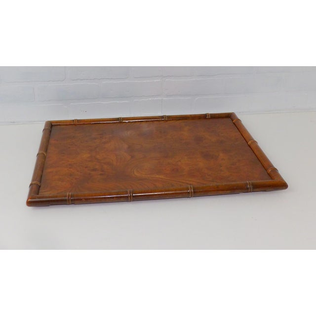 Beautiful vintage serving tray. Made of parquet burl walnut wood. Trimmed in a bamboo style edging. Very minor wear. They...