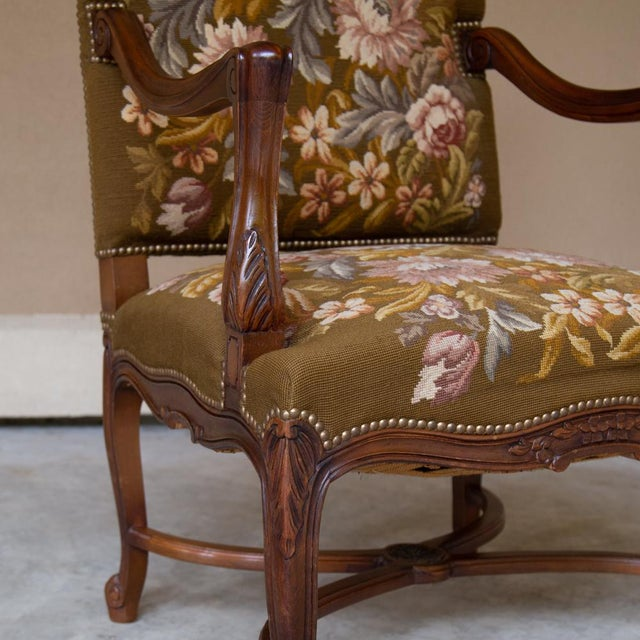 Red 19th Century Antique French Louis XV Original Needlepoint Tapestry Armchair For Sale - Image 8 of 13