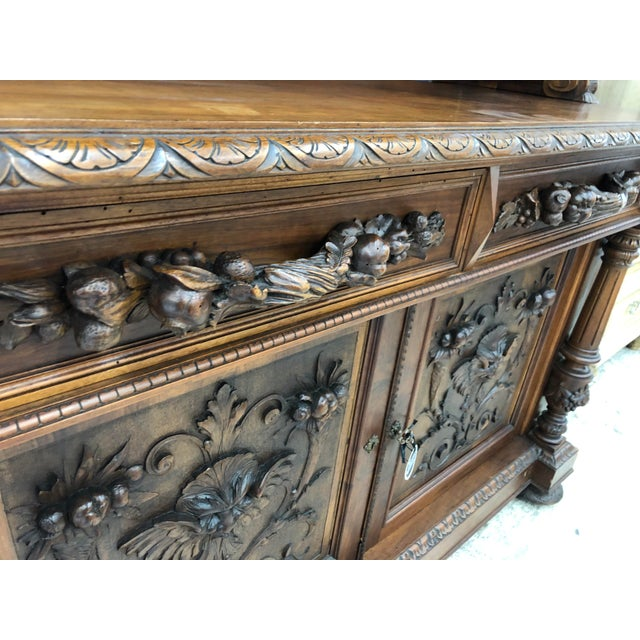 Wood 19th Century St. Hubert French Louis XIII Carved Walnut Buffet For Sale - Image 7 of 11