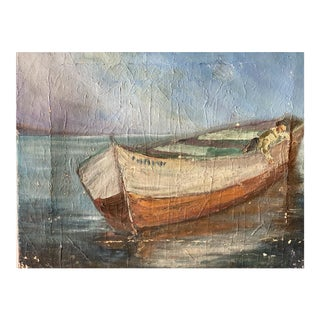 Early 20th Century Unframed French Oil on Canvas of Boat - Unsigned For Sale