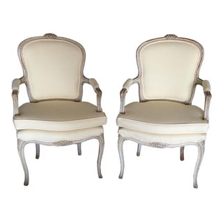Louis XV Fauteuils Chairs Antique - A Pair For Sale