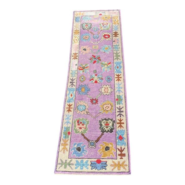 Contemporary Pastel Turkish Oushak Rug - 2′11″ × 9′11″ For Sale