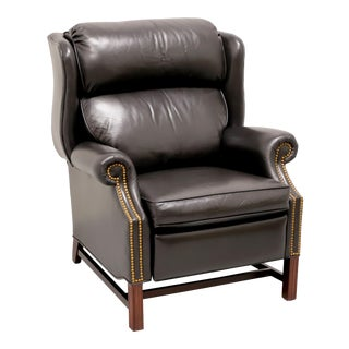 Sherrill Chippendale Style Cambridge Black Leather Recliner For Sale