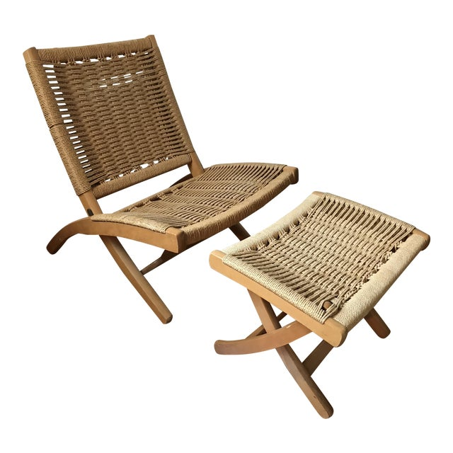Hans Wegner Style Rope Lounge Chair & Ottoman - A Pair - Image 1 of 9