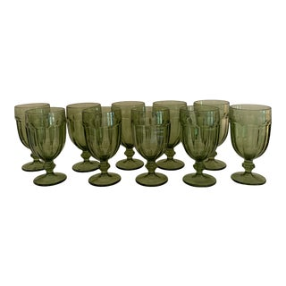Vintage Green Glass Goblets - Set of 10 For Sale