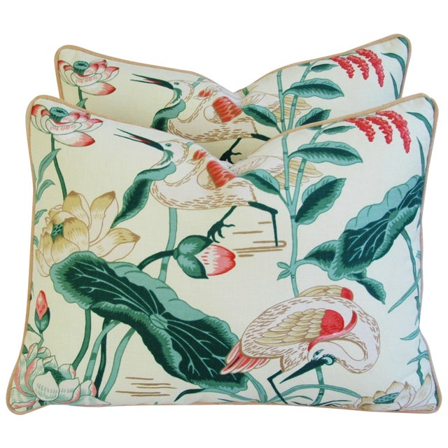 Egrets & Lotus Blossom Pillows - a Pair - Image 1 of 11