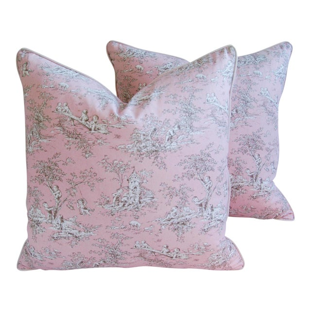 Designer French Pink Toile & Velvet Feather/Down Pillows - Pair - Image 1 of 11