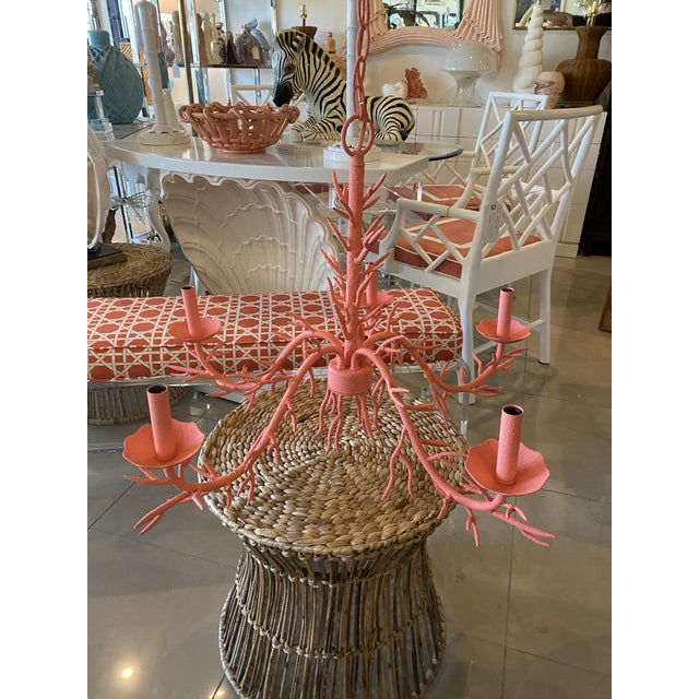 Vintage Palm Beach Metal Coral 5-Light Chandelier For Sale - Image 12 of 12