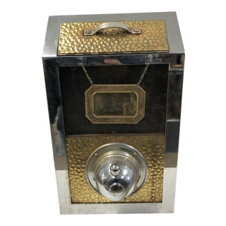 Vintage Hammered Steel Coffee Bean Dispenser For Sale