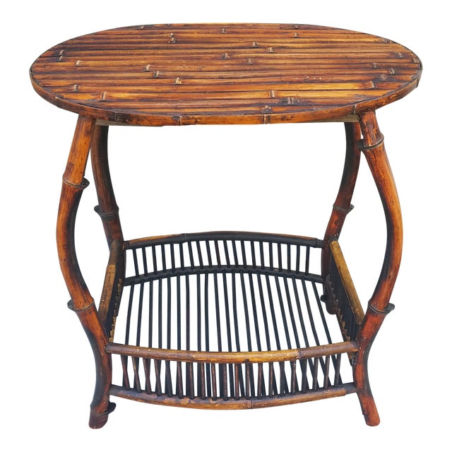 Antique Tortoise Bamboo Side Table For Sale