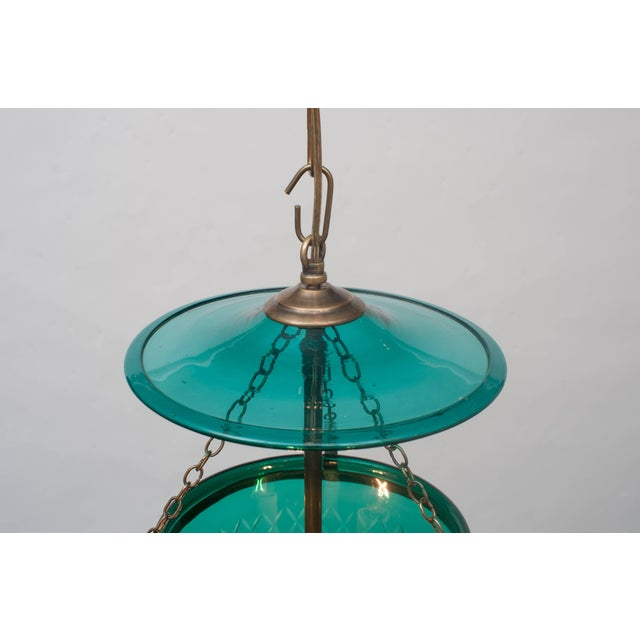 Early 19th Century Green Diamond-Cut Bell Jar Lantern For Sale - Image 5 of 6