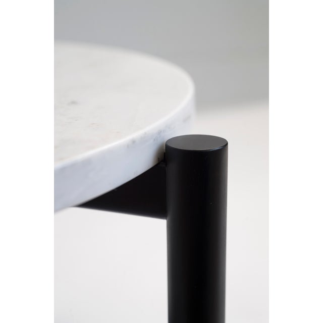 Bowen Liu Gathering Side Table in Dyed Maple & Carrara Marble For Sale - Image 4 of 6