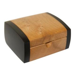 1990s Miniature Maple & Ebony Wood Box, Signed For Sale