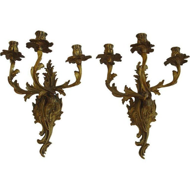 French Rococo Louis XV Style Bronze Three-Arm Sconces a Pair For Sale - Image 9 of 9