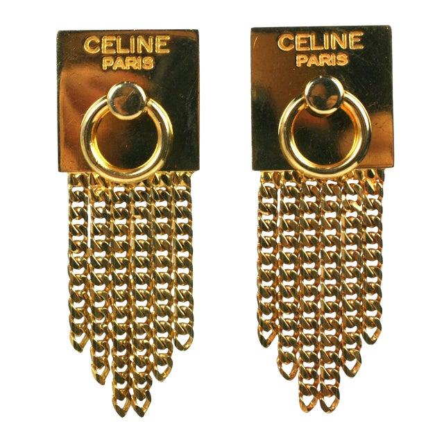 Celine Gold Chain Door Knocker Earrings For Sale
