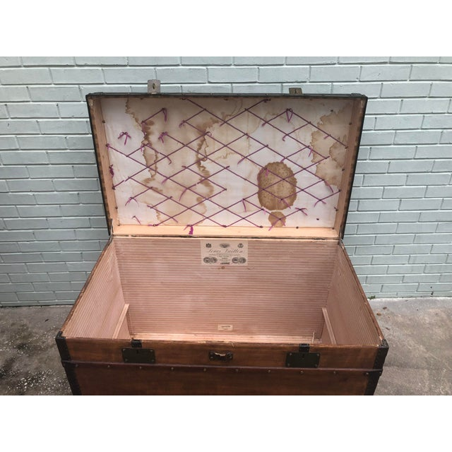 Americana 1910s French Louis Vuitton Steamer Trunk For Sale - Image 3 of 13