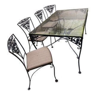 Mid-Century Iron and Glass Dining Set- 5 Pieces For Sale