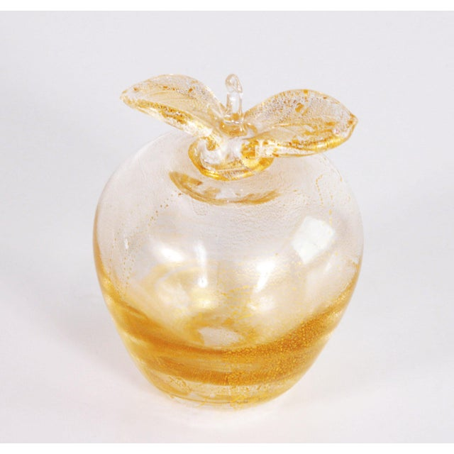 Mid 20th Century Vintage Murano Art Glass Gold Fleck Apple Paperweight For Sale - Image 5 of 7