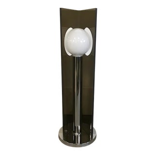 Robert Sonneman Smoked Acrylic and Chrome Lollipop Lamp For Sale