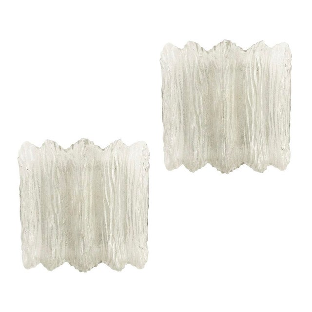 Glass Textured Murano Glass Flush Mounts or Sconces - a Pair For Sale - Image 7 of 7
