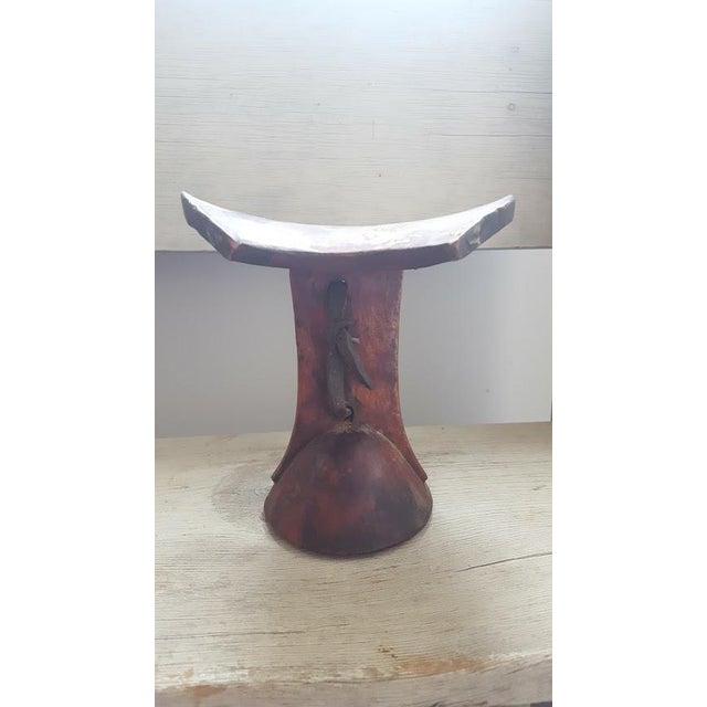 African Headrest With Leather Strap For Sale - Image 5 of 8