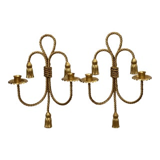 Hollywood Regency Glam Gold Tassel Rope Sconces-A Pair For Sale