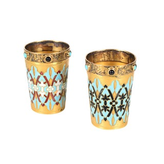 Antique Russian Silver Gilt & Enamel Shot Glasses - A Pair For Sale