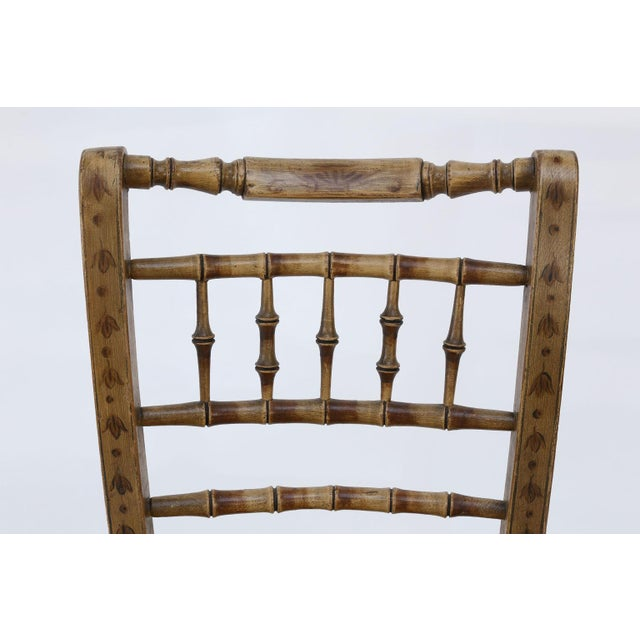 Textile Pair of Faux Bamboo Side Chairs For Sale - Image 7 of 11