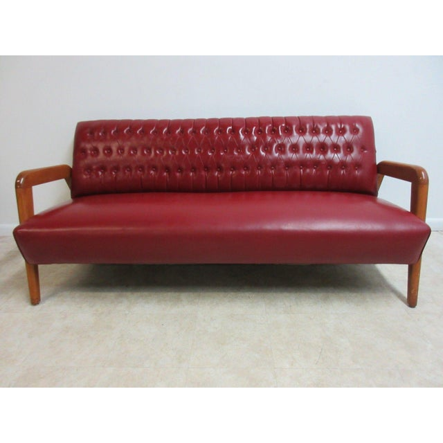 Vintage Heywood Wakefield Tufted Mid Century Sofa Settee For Sale - Image 11 of 11