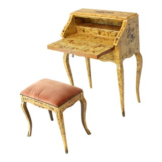 Italian Burl Wood Inlayed Drop Secretary Desk With Matching Bench Bronze Ormolu For Sale