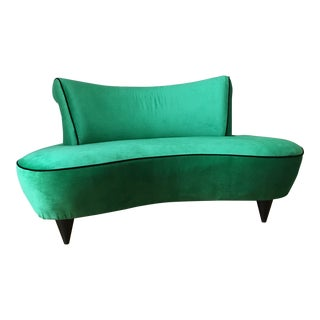 Vintage Vladimir Kagan-Style Hollywood Regency Kelly Green Curved Settee For Sale