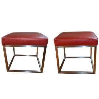 Mitchell Gold & Bob Williams Red Leather Stools - A Pair