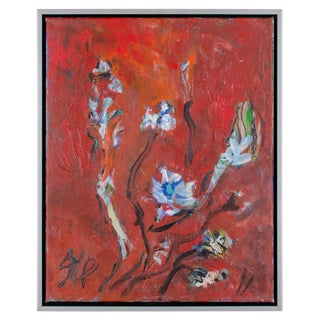 """Abstract Oil Painting on Canvas, """"White Flowers"""" by Suzanne McCullough Plowden For Sale"""