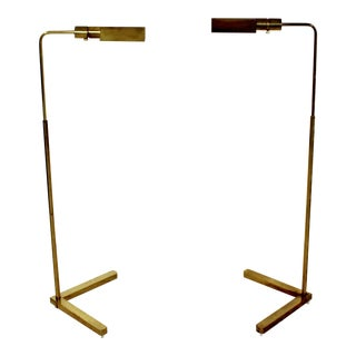 1970s Mid-Century Modern Cedric Hartman Brass Floor Reading Lamps - a Pair