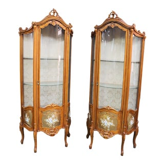 Louis XV Style Carved & Floral Painted Curio Cabinets - a Pair For Sale