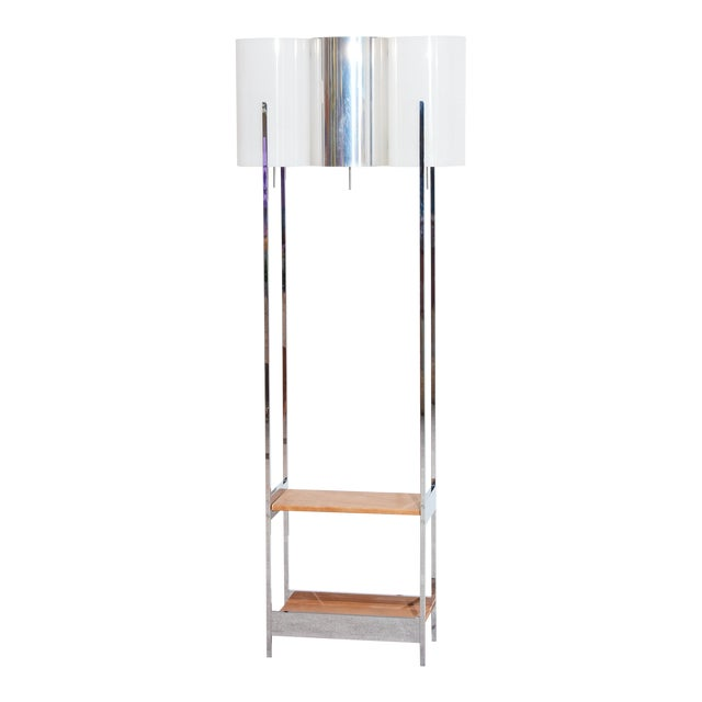 Vintage 1970s Chrome Floor Lamp with Shelves For Sale