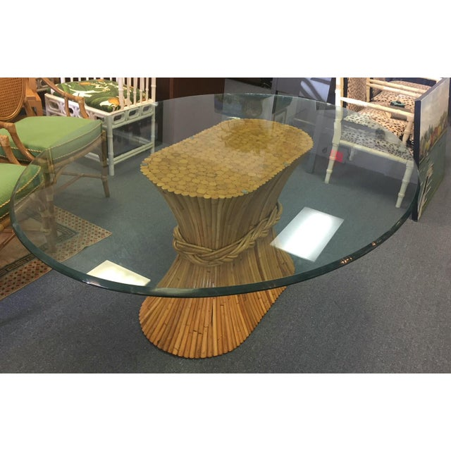 Faux Bamboo Vintage McGuire Bamboo Base Glass Top Table For Sale - Image 7 of 7