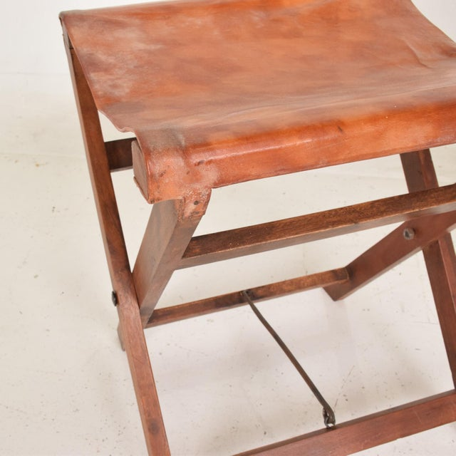 Mid-Century Modern Antique Decorative Leather & Mahogany Folding Wood Stools - a Pair For Sale - Image 3 of 7