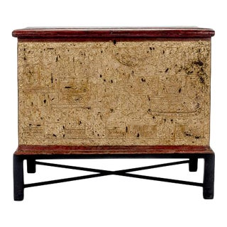 19th Century Teak Red Lacquer and Gold Leaf Manuscript Chest For Sale