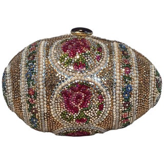 Judith Leiber Pearl Egg Swarovski Crystal Minaudiere Evening Bag For Sale