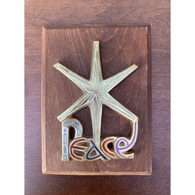 Mid 20th Century Brass Starburst Peace Wall Plaque For Sale In Milwaukee - Image 6 of 6