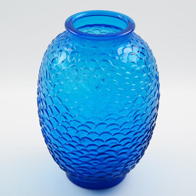 Art Deco Pierre d'Avesn for Cristallerie Choisy-Le-Roi Blue Molded Glass Vase, a Pair For Sale - Image 3 of 7