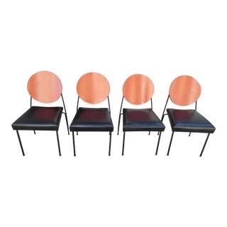 Dakota Jackson Leather & Steel Dining Chairs Set - Set of 4 For Sale